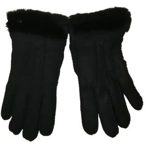 UGG Black Leather Shearling Winter Gloves
